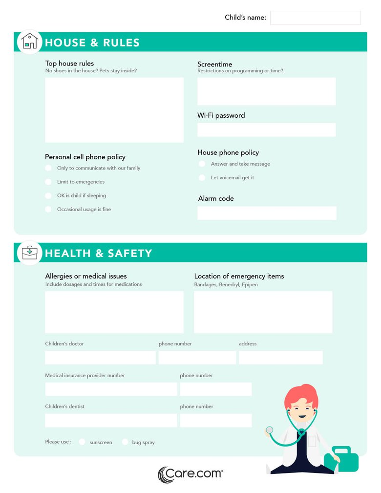 child safety checklist what to give your nanny in case of emergency