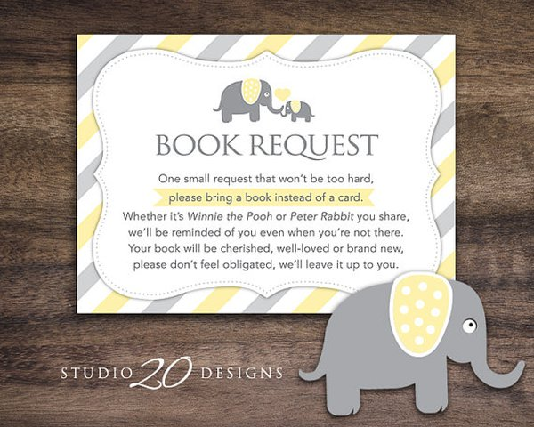book in lieu of card gender neutral elephant baby shower book instead