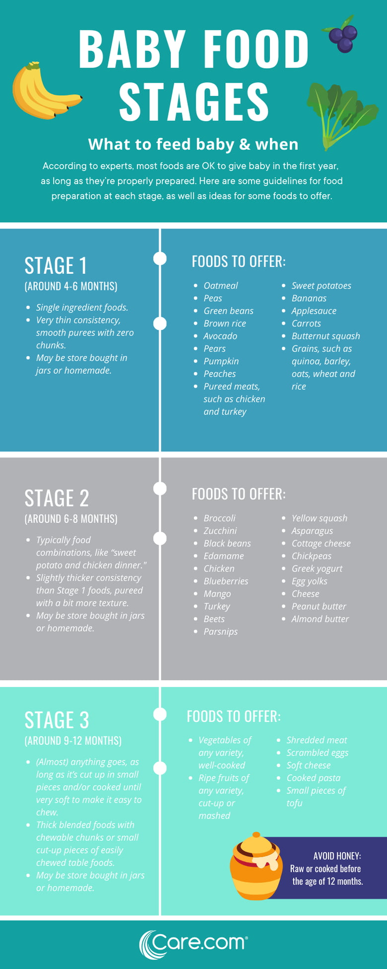 The 3 Stages Of Baby Food What Foods And When Care Com