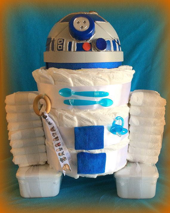 A Link Personalized R2d2 Custom Diaper Gift Wastebasket Prices Vary On Etsy 85 00 Baby Shower Pinterest And Diapers