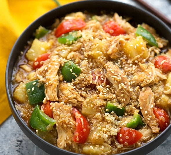 20 slow cooker meals for families care teriyaki chicken quinoa and veggies forumfinder Choice Image