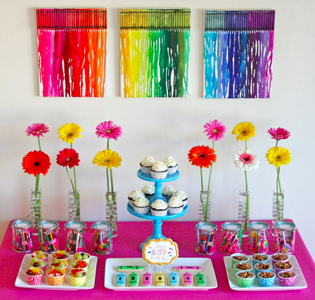 This Art Birthday Cake Table Is The Perfect Mix Of Sweets Treats And Gifts While There Are Cupcakes To Serve As One Main Desserts Also