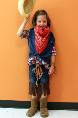 Easy diy cowgirl costume care as part of the care halloween costume series get quick steps to turn your little girl into a character from the wild west or um toy story solutioingenieria Gallery