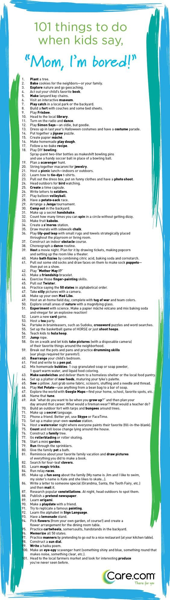 101 Things To Do When Kids Say I M Bored Care Com