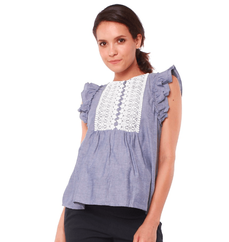 14f93b67e5e Daryl ruffle sleeve lace panel nursing blouse ($56, Figure 8 Maternity). To  say this flowy, chambray top ...
