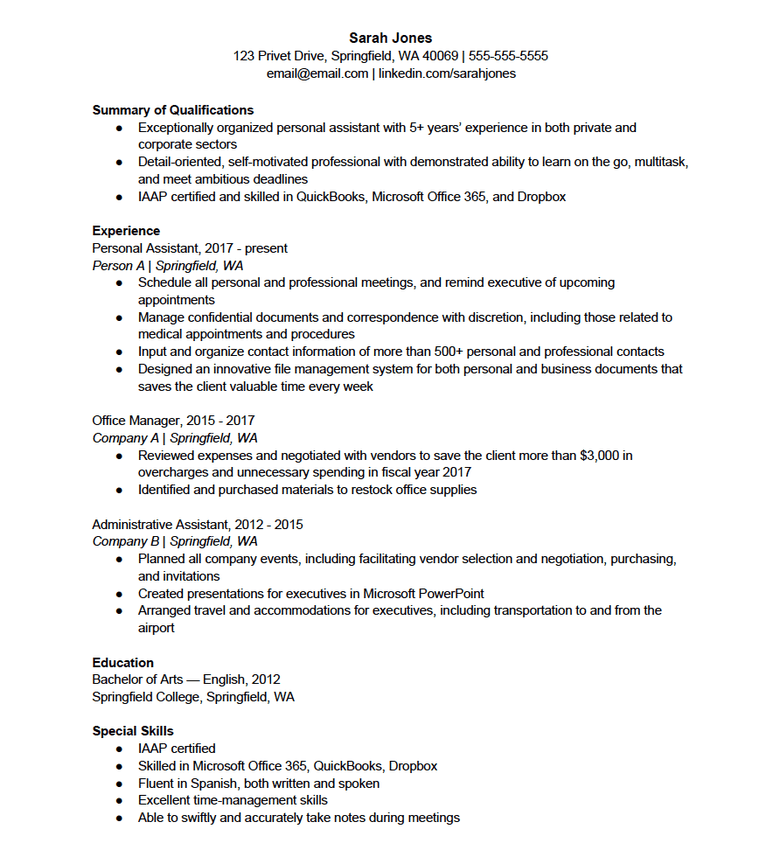 download this personal assistant resume template as a pdf