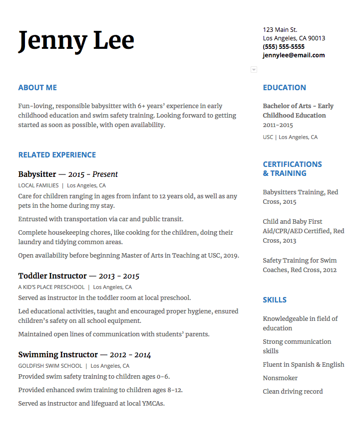 Click Here To Download This Babysitter Resume Template As A Pdf