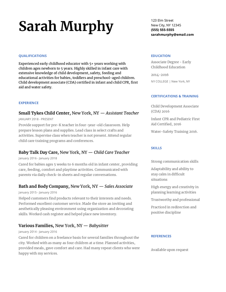 how to write a day care resume to impress any director  with resume template