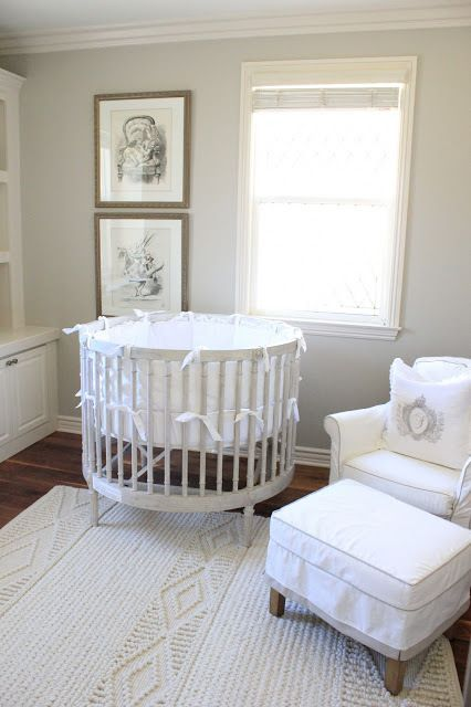 A round crib is a statement piece in and of itself, letting you go super  mellow with the rest of your nursery without being boring.