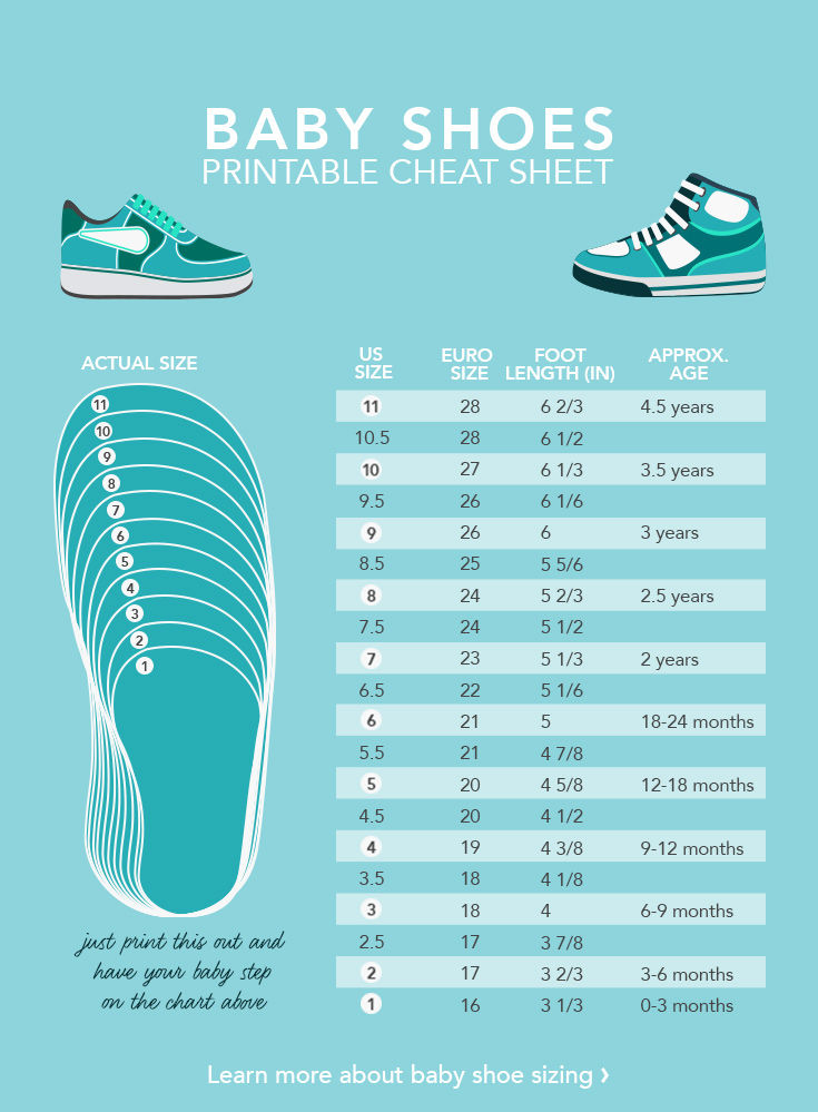 Baby Shoe Size Chart Inches
